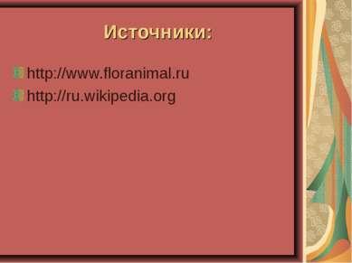 Источники: http://www.floranimal.ru http://ru.wikipedia.org