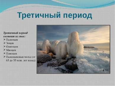 Третичный период Третичный период состоит из эпох: Палеоцен Эоцен Олигоцен Ми...
