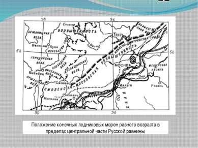 Положение конечных ледниковых морен разного возраста в пределах центральной ч...
