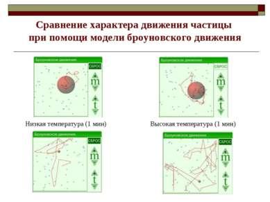 Низкая температура (1 мин) Высокая температура (1 мин) Сравнение характера дв...