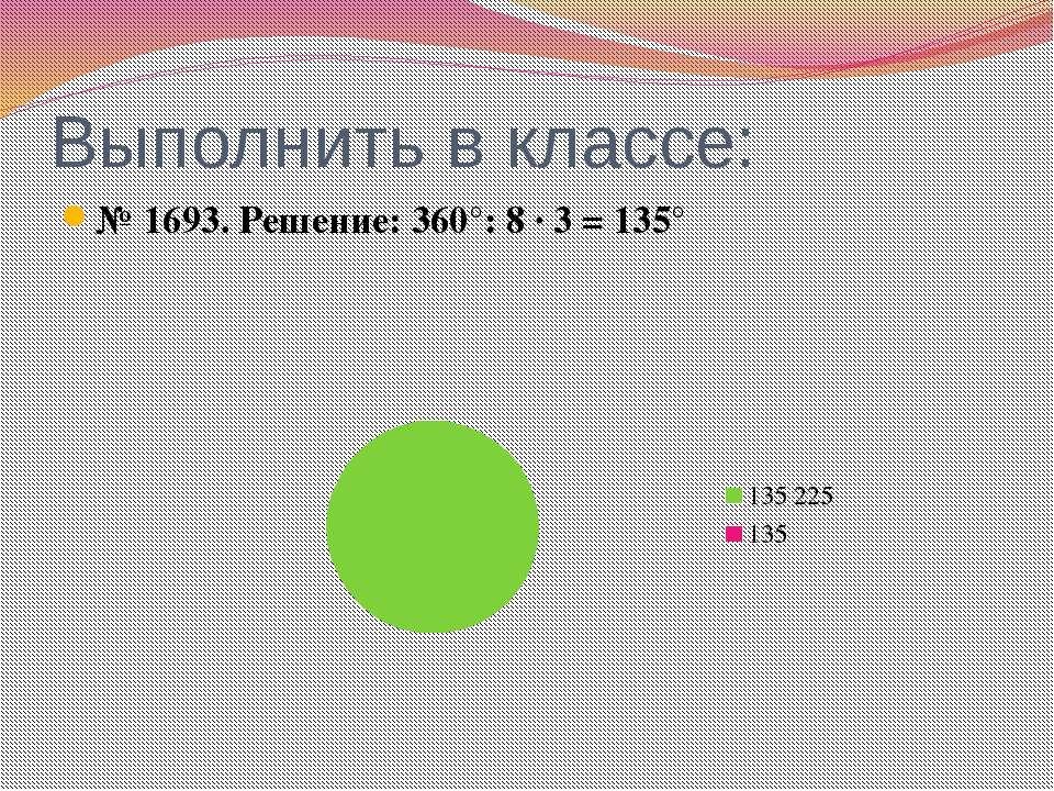 Выполнить в классе: № 1693. Решение: 360°: 8 ∙ 3 = 135°