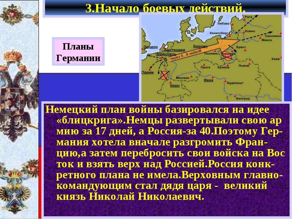 3.Начало боевых действий. Немецкий план войны базировался на идее «блицкрига»...