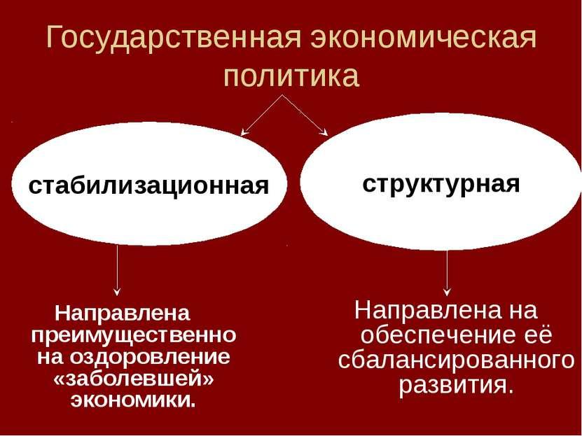 Государственная экономическая политика стабилизационная структурная Направлен...