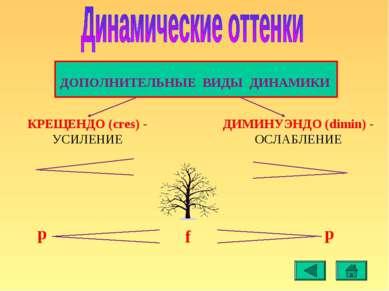 КРЕЩЕНДО (cres) - УСИЛЕНИЕ ДИМИНУЭНДО (dimin) - ОСЛАБЛЕНИЕ p p f