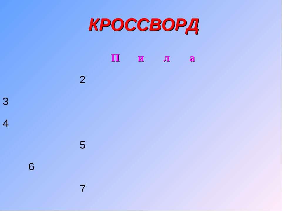 КРОССВОРД П и л а 2 3 4 5 6 7