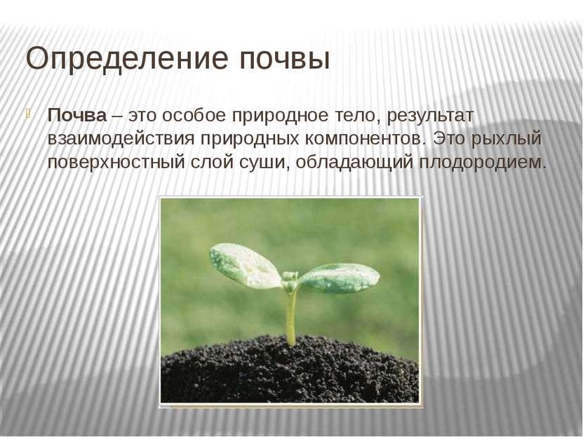 Определение почвы Почва – это особое природное тело, результат взаимодействия...