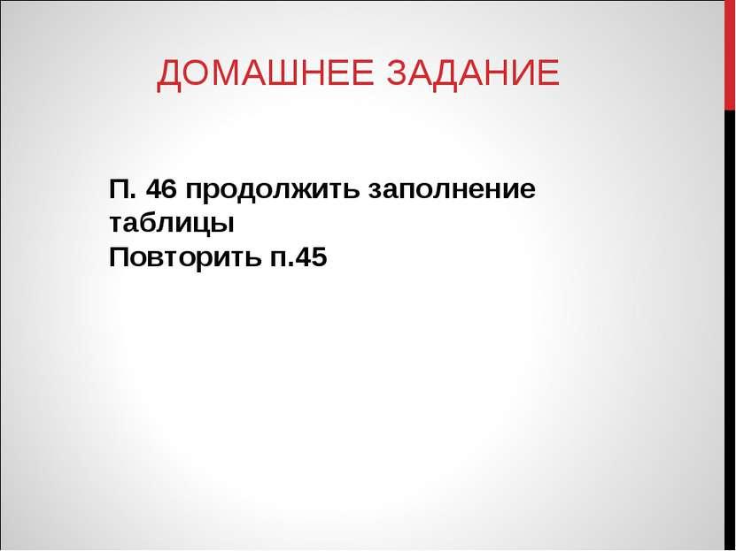 ДОМАШНЕЕ ЗАДАНИЕ П. 46 продолжить заполнение таблицы Повторить п.45