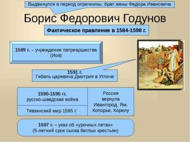 Борис Федорович Годунов Фактическое правление в 1584-1598 г. 1591 г. Гибель ц...