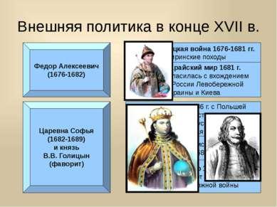 Внешняя политика в конце XVII в. Федор Алексеевич (1676-1682) Русско-турецкая...