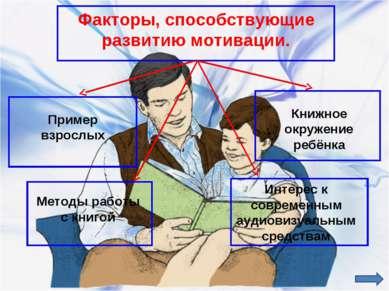 Факторы, способствующие развитию мотивации. Пример взрослых Книжное окружение...