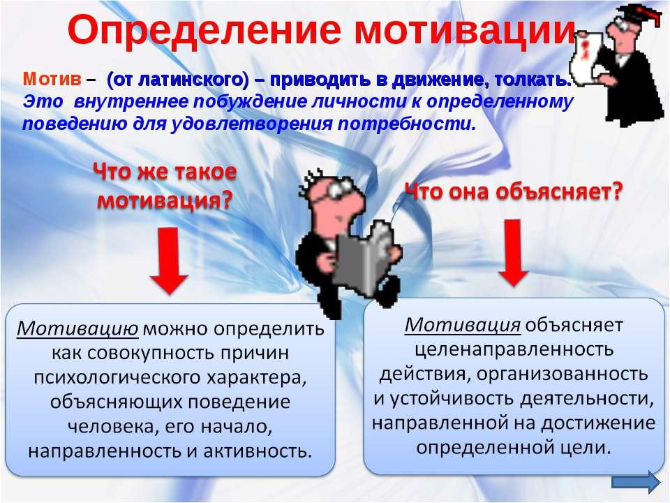 Определение мотивации. Мотив – (от латинского) – приводить в движение, толкат...