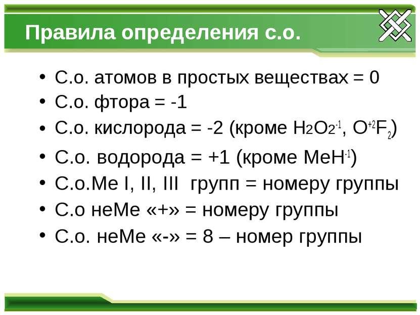Правила определения с.о. С.о. атомов в простых веществах = 0 С.о. фтора = -1 ...