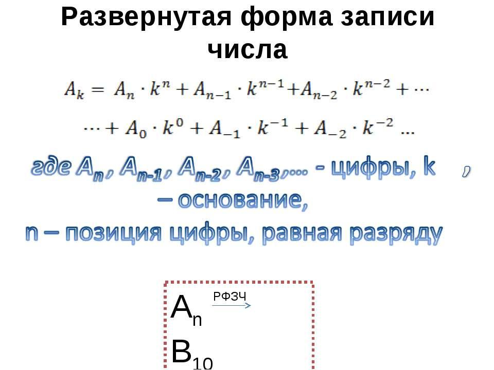 Развернутая форма записи числа РФЗЧ