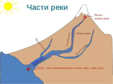 Течение реки Исток – начало реки Устье – место впадения реки в океан, море, о...
