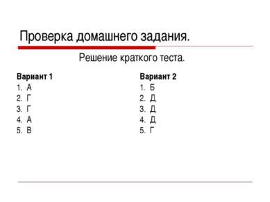 Проверка домашнего задания. Решение краткого теста. Вариант 1 А Г Г А В Вариа...