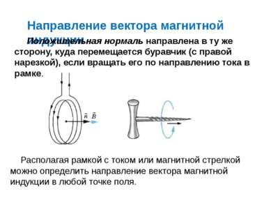 Направление вектора магнитной индукции Положительная нормаль направлена в ту ...