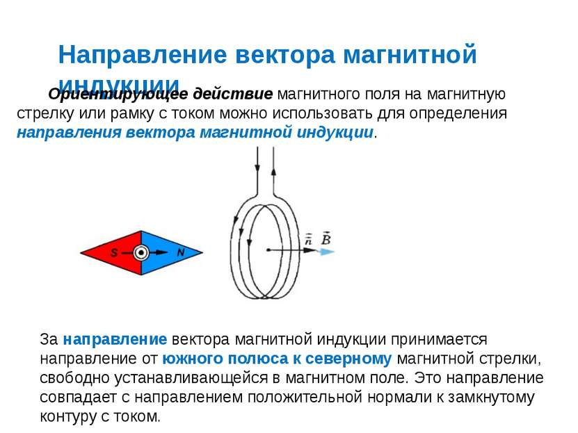Направление вектора магнитной индукции Ориентирующее действие магнитного поля...