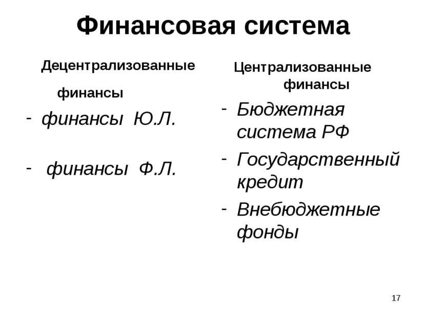 * Финансовая система Децентрализованные финансы финансы Ю.Л. финансы Ф.Л. Цен...
