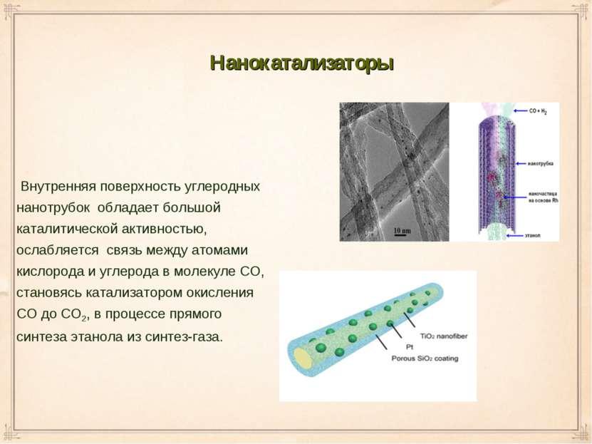 Внутренняя поверхность углеродных нанотрубок обладает большой каталитической ...
