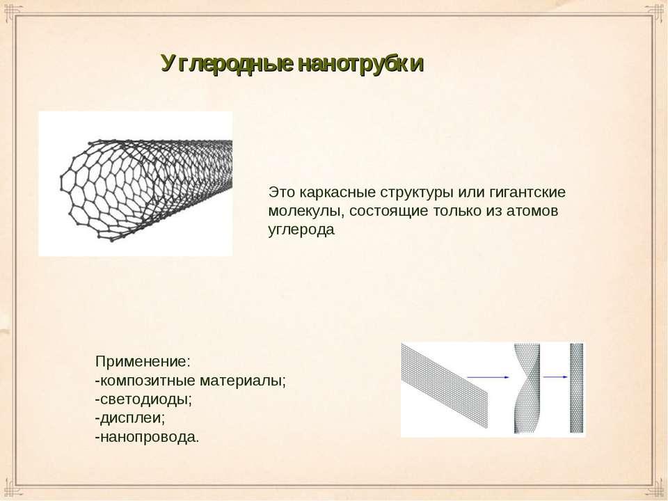 Углеродные нанотрубки Применение: -композитные материалы; -светодиоды; -диспл...