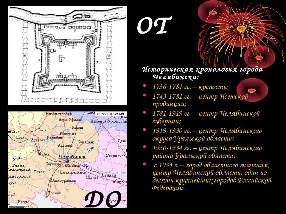 Историческая хронология города Челябинска: 1736-1781 гг. – крепость; 1743-178...