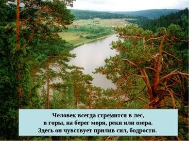 Человек всегда стремится в лес, в горы, на берег моря, реки или озера. Здесь ...