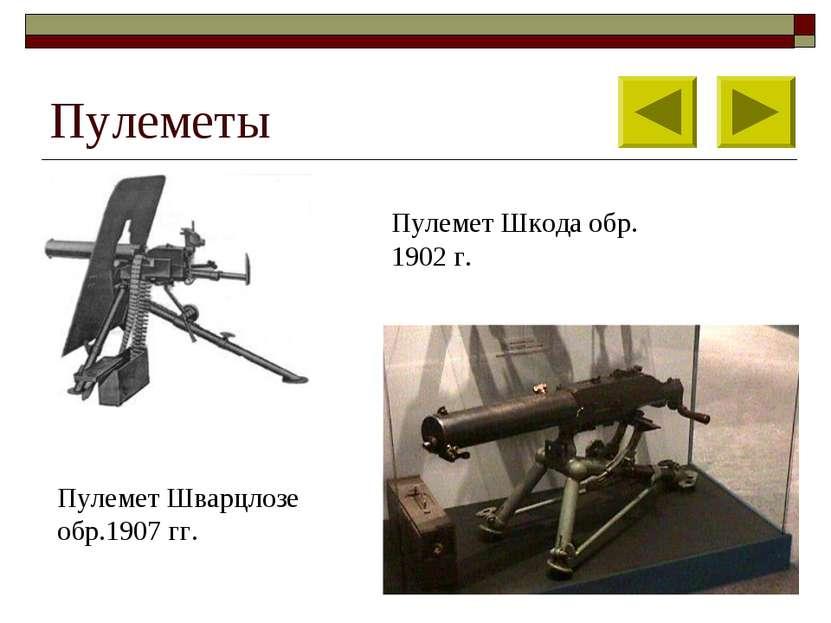 Пулеметы Пулемет Шкода обр. 1902 г. Пулемет Шварцлозе обр.1907 гг.
