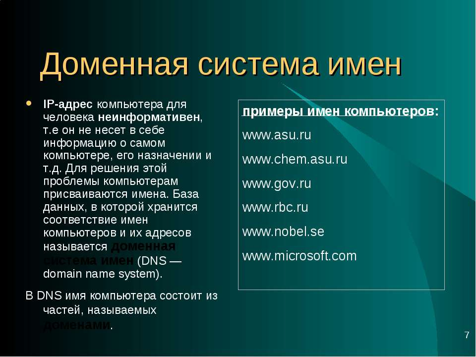 * Доменная система имен IP-адрес компьютера для человека неинформативен, т.е ...
