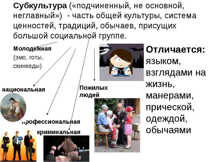 Субкультура («подчиненный, не основной, неглавный») - часть общей культуры, с...