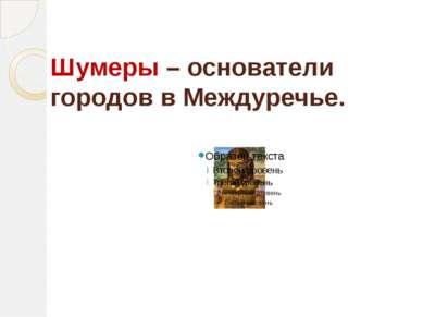 Шумеры – основатели городов в Междуречье.