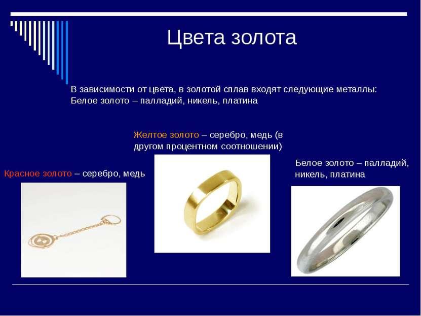 Цвета золота В зависимости от цвета, в золотой сплав входят следующие металлы...