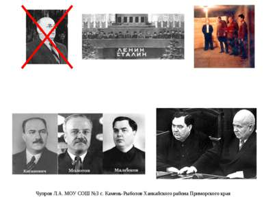 После смерти И.В. Сталина. Борьба за власть. Чупров Л.А. МОУ СОШ №3 с. Камень...