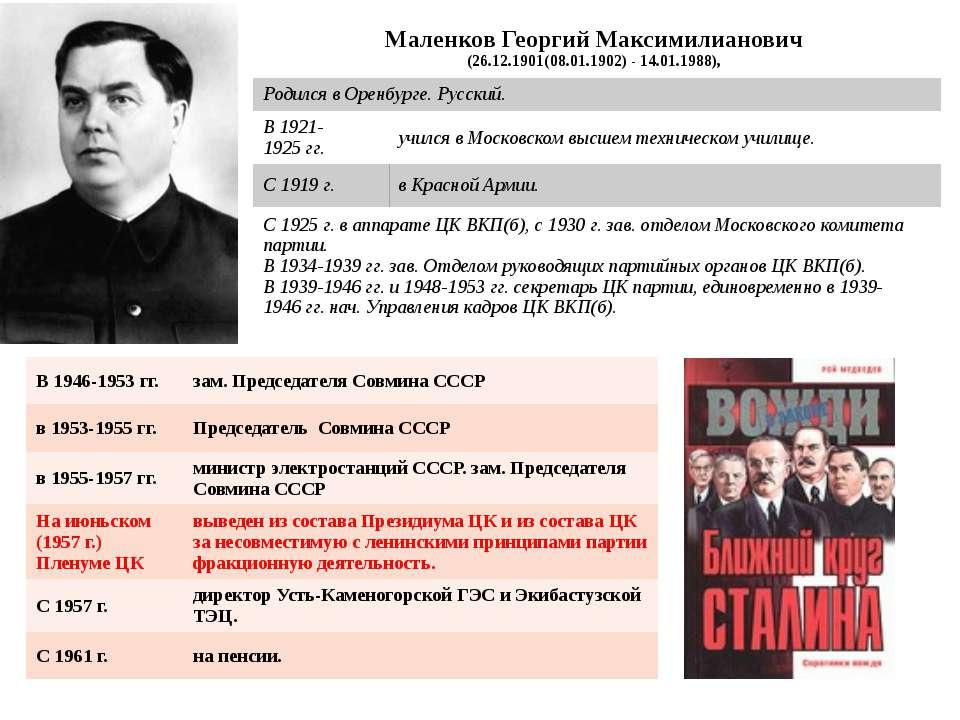 Маленков Георгий Максимилианович (26.12.1901(08.01.1902) - 14.01.1988), Родил...