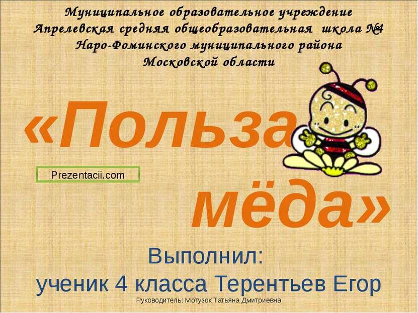 «Польза мёда» Муниципальное образовательное учреждение Апрелевская средняя об...