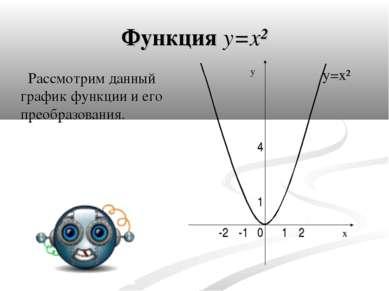 Функция y=x² Рассмотрим данный график функции и его преобразования. y=x² y x ...