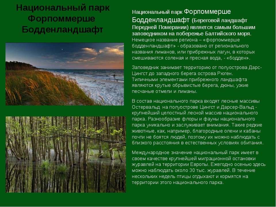 Национальный парк Форпоммерше Бодденландшафт (Береговой ландшафт Передней Пом...