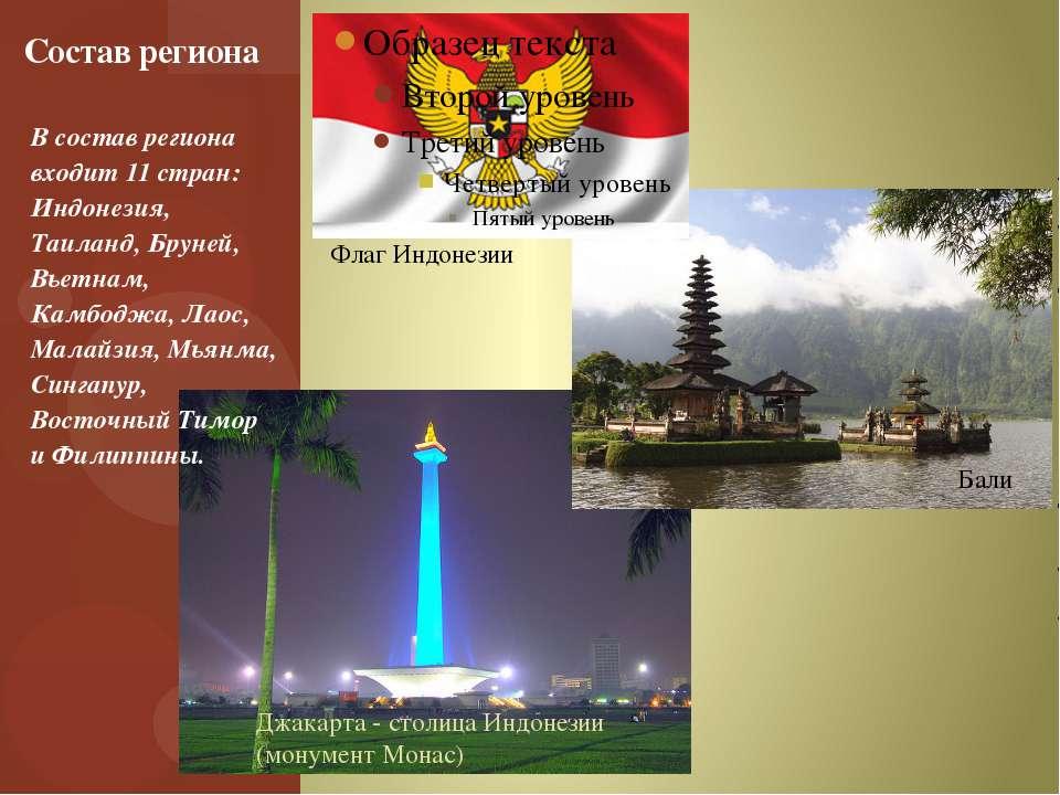В состав региона входит 11 стран: Индонезия, Таиланд, Бруней, Вьетнам, Камбод...