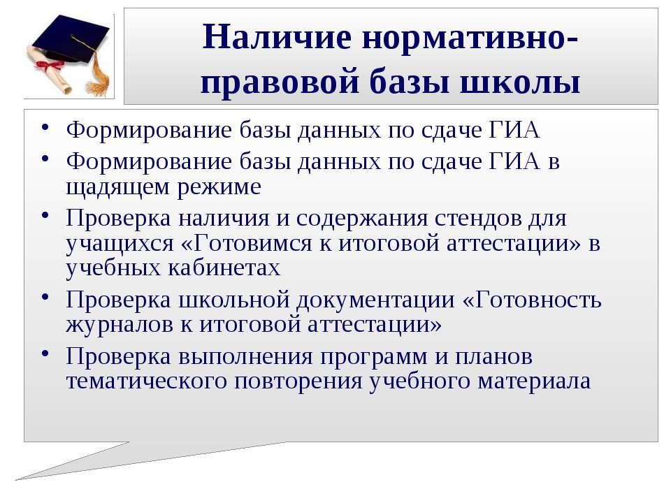 Наличие нормативно-правовой базы школы Формирование базы данных по сдаче ГИА ...