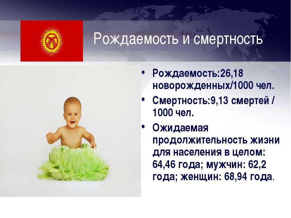 Рождаемость и смертность Рождаемость:26,18 новорожденных/1000 чел. Смертность...