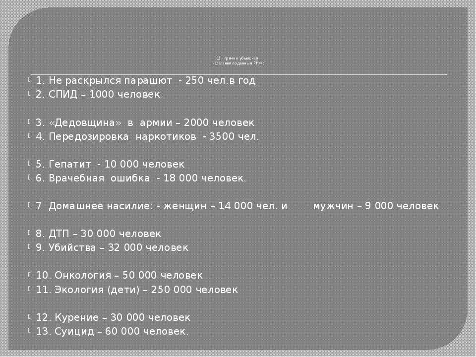 13 причин убывания населения по данным РИФ: 1. Не раскрылся парашют - 250 чел...
