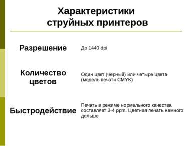 Характеристики струйных принтеров Разрешение До 1440dpi Количество цветов Оди...