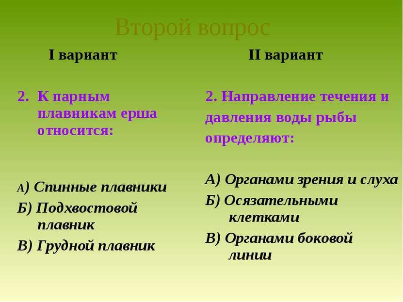 I вариант К парным плавникам ерша относится: А) Спинные плавники Б) Подхвосто...