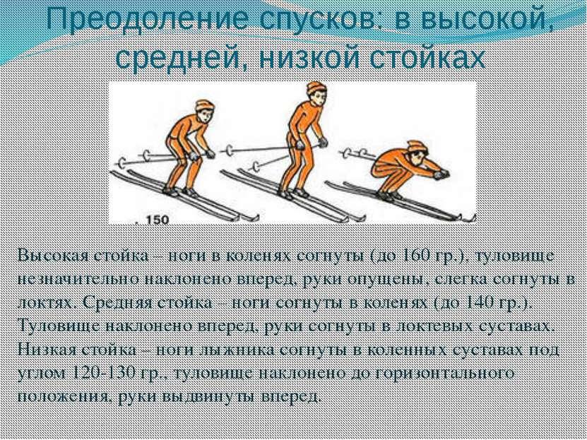 Преодоление спусков: в высокой, средней, низкой стойках Высокая стойка – ноги...