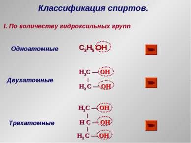 Классификация спиртов. I. По количеству гидроксильных групп Одноатомные C2H5 ...