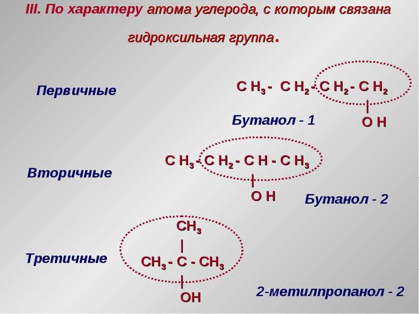 III. По характеру атома углерода, с которым связана гидроксильная группа. Пер...