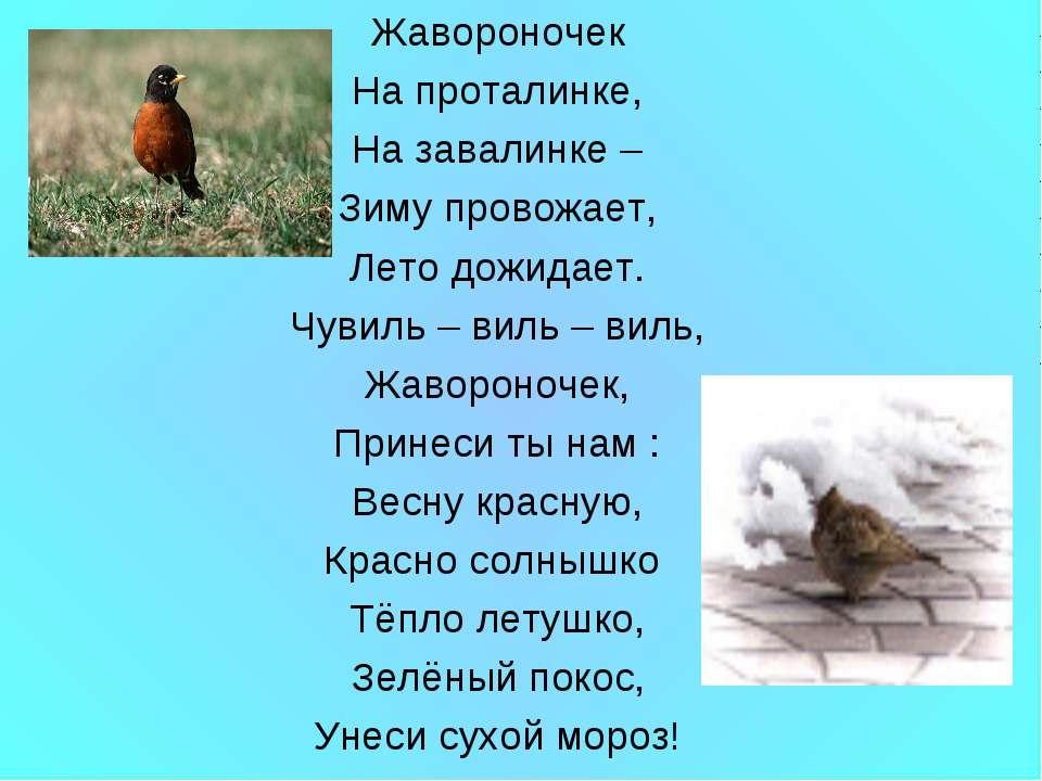Жавороночек На проталинке, На завалинке – Зиму провожает, Лето дожидает. Чуви...