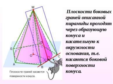 Плоскости боковых граней описанной пирамиды проходят через образующую конуса ...
