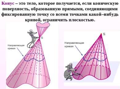 Конус – это тело, которое получается, если коническую поверхность, образованн...