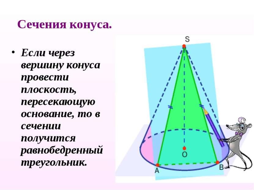 Сечения конуса. Если через вершину конуса провести плоскость, пересекающую ос...