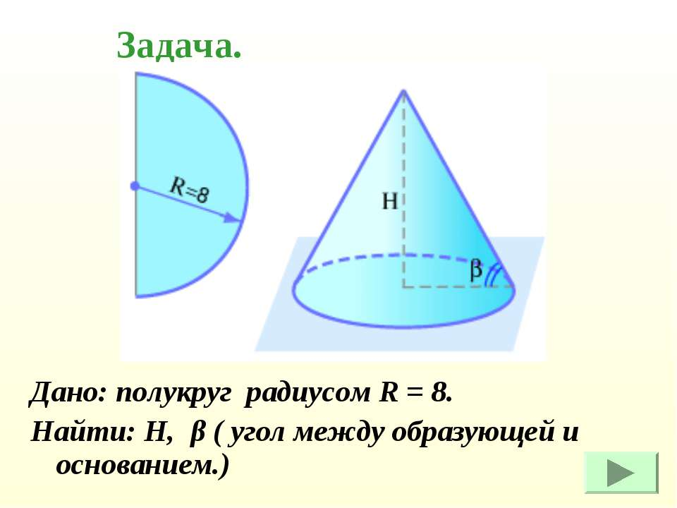 Дано: полукруг радиусом R = 8. Найти: Н, β ( угол между образующей и основани...